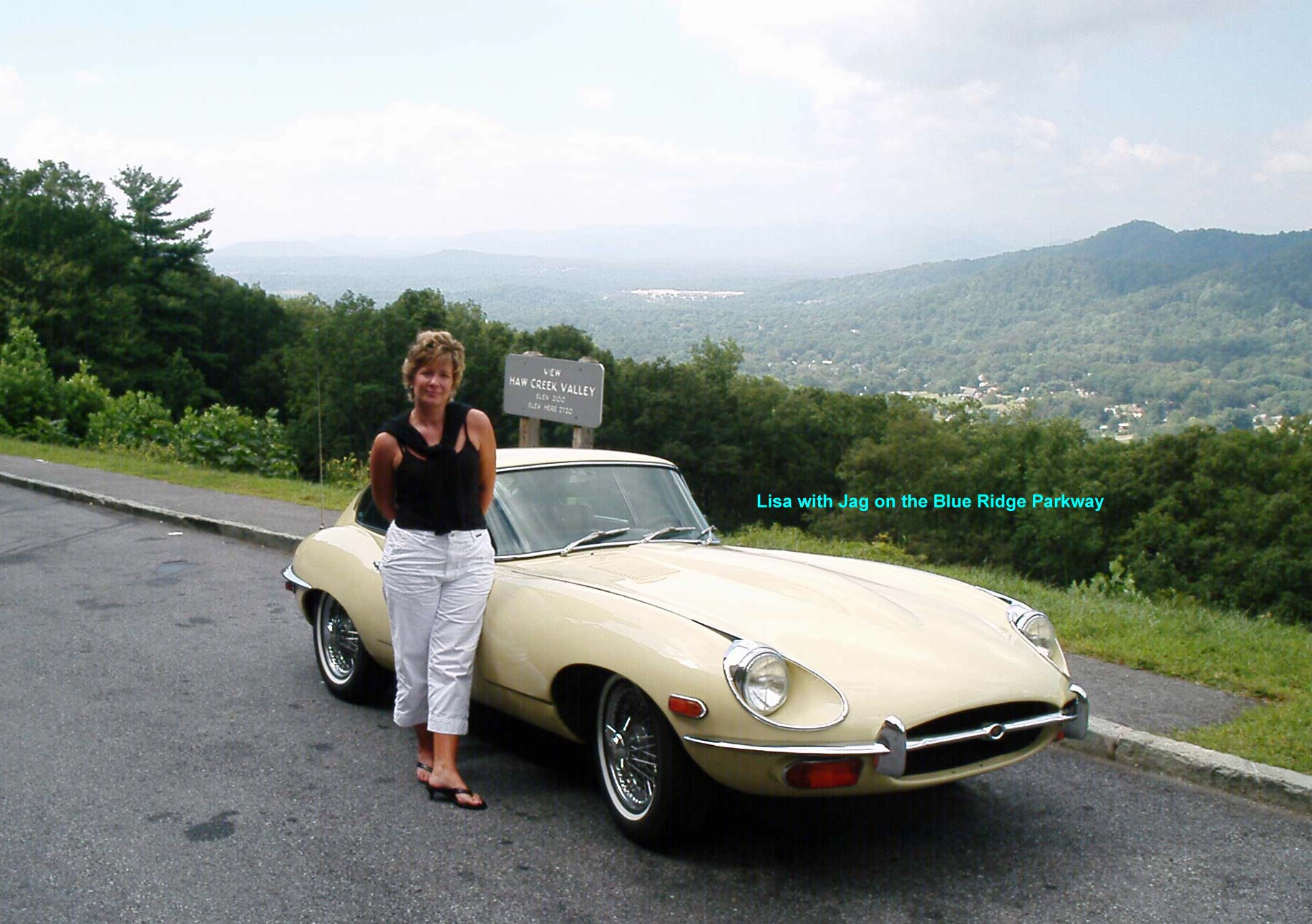 Lisa with the Jag on the Blue Ridge Parkway