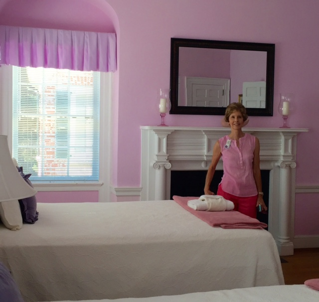 Millie matching the pink room